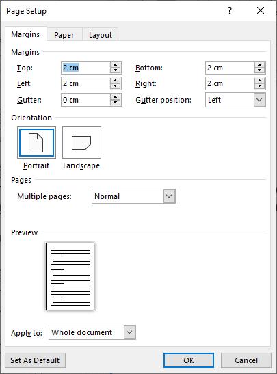Page Setup - Margins