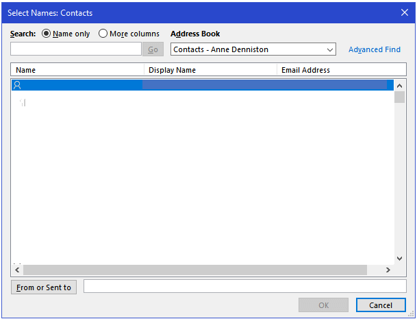 The Select Names: Contacts dialog box