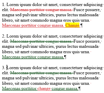 Examples of three kinds of moved text