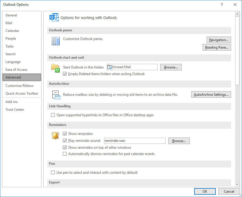 The Outlook Options dialog box: File > Options > Advanced > Outlook start and exit