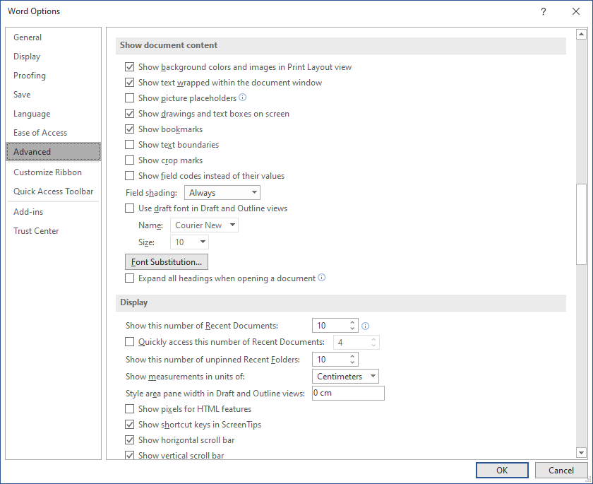Word Options dialog box - Advanced > Show document content